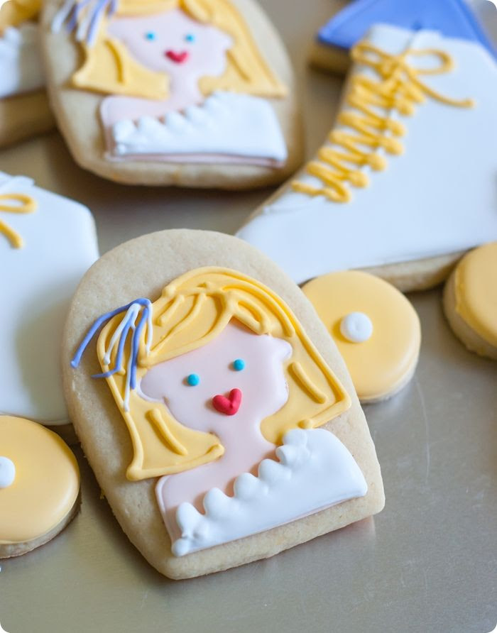 xanadu and olivia newton-john decorate cookies + a recipe for vanilla-clementine cut-out cookies