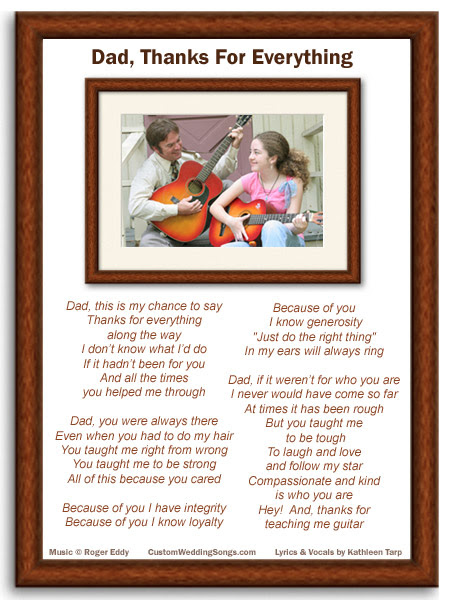 Custom Wedding Songs Lyric Sheet P Brown Frames