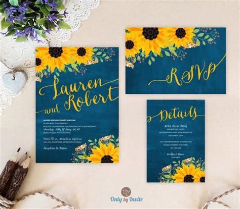 Sunflower Wedding Invitation Packages: Invites, RSVP