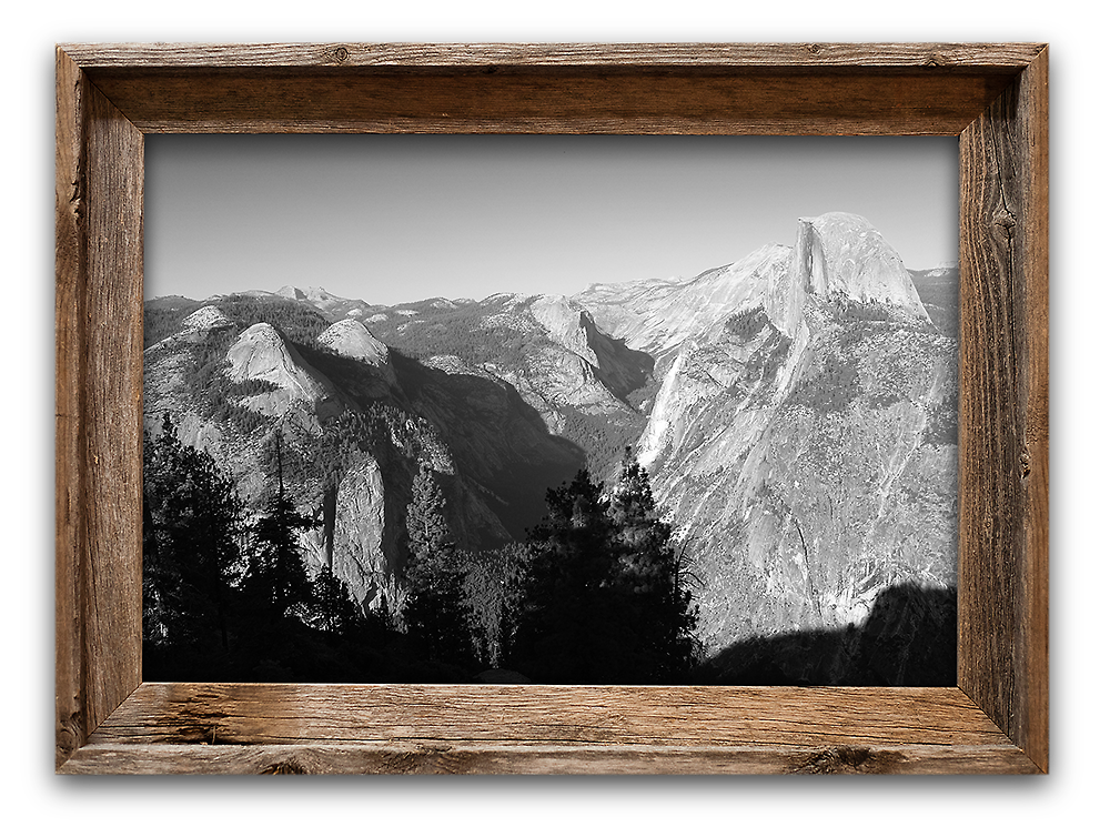 Glacier Point Yosemite 20x30 Metallic Print In Barnwood Frame