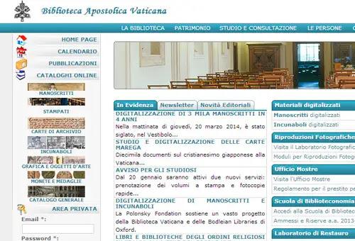 Captura de pantalla de sitio web de la Biblioteca Vaticana