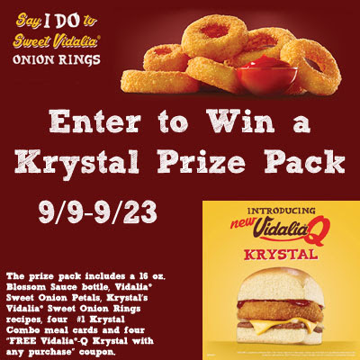 Enter the Krystal Vidalia Onion Rings Giveaway. Ends 9/23
