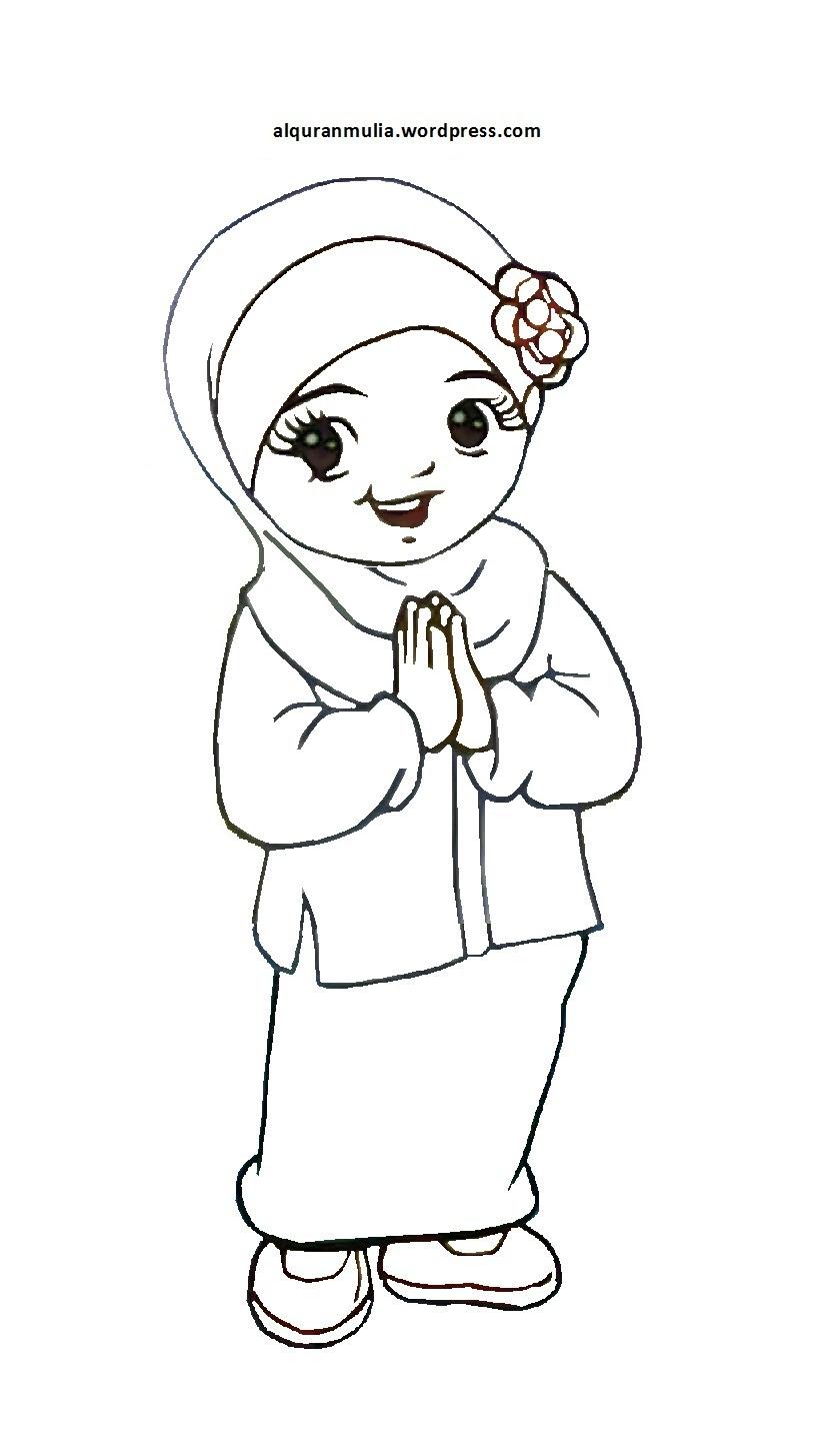Mewarnai Gambar Kartun Anak Muslimkartun Cerita Anak Muslimbagus