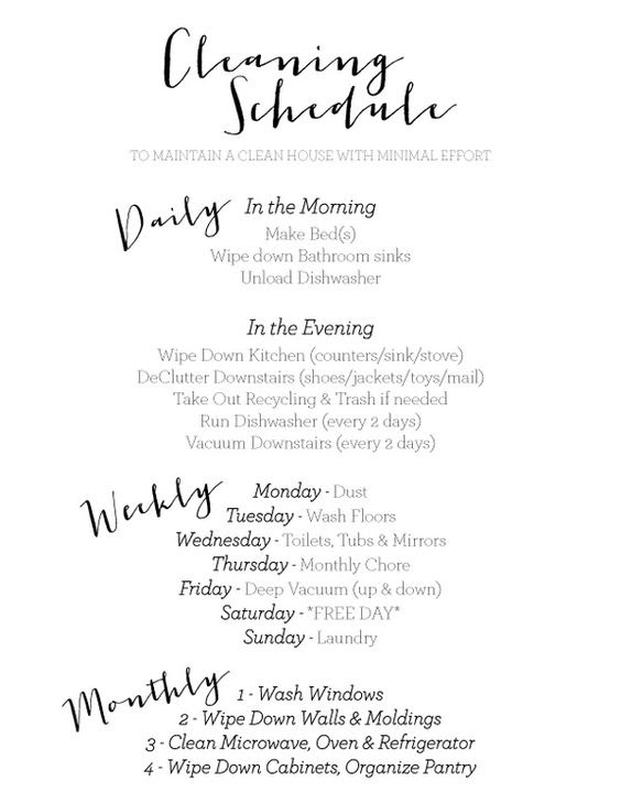 My Daily/Weekly/Monthly Cleaning Schedule to keep my house clean ...