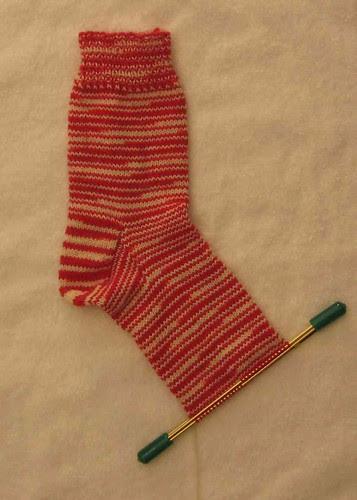 Peppermint stripe sock in progress