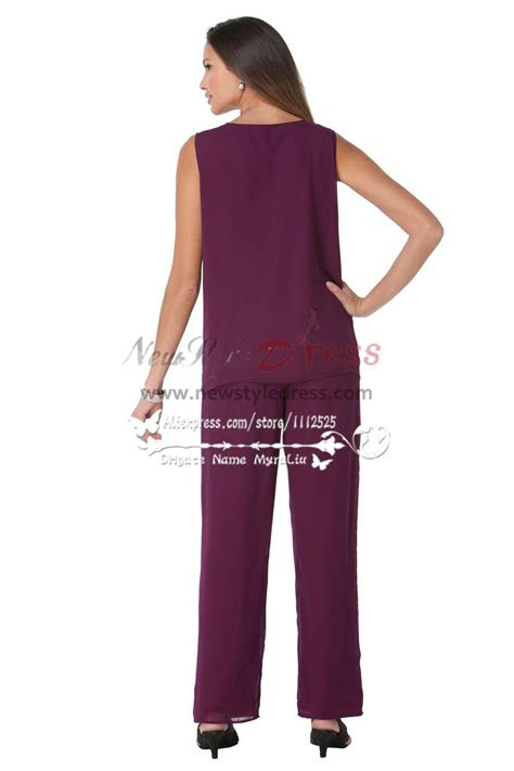mother   bride pant suits beaded purple chiffon
