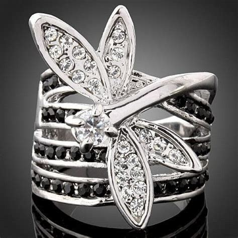 Women Fashion Dragonfly individuality 4 Row Crystals