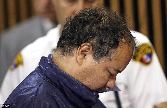 Wearing a navy blue prison jumpsuit and with his head bowed throughout, Castro was arraigned on four counts of kidnapping and three counts of rape this morning. He pleaded not guilty
