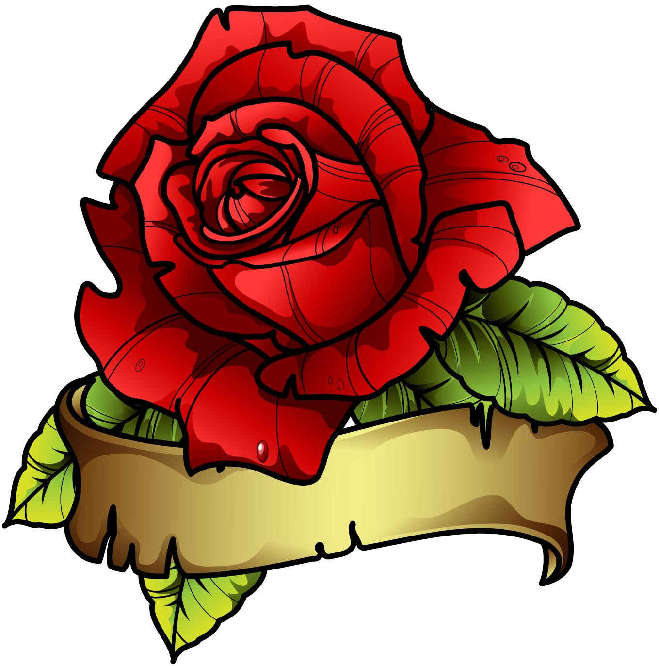 Sbink Red Rose Banner Tattoo Picture