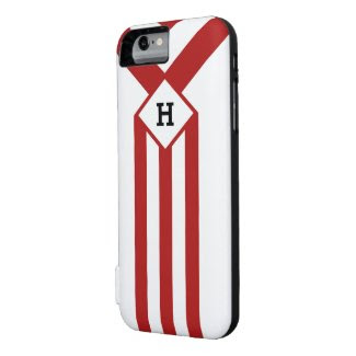 Red Stripes and Chevrons with Monogram on White iPhone 6 Case