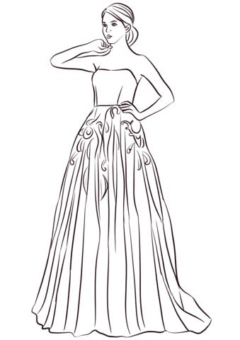Dibujo De Vestido Largo Sin Tirantes Para Colorear Dibujos Para