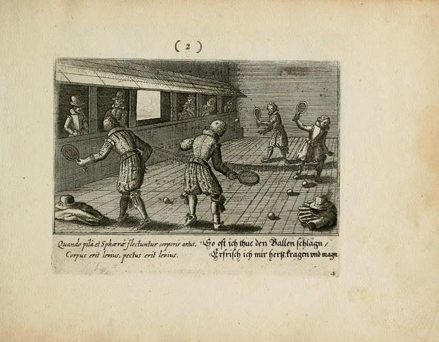17th century tennis match engraving