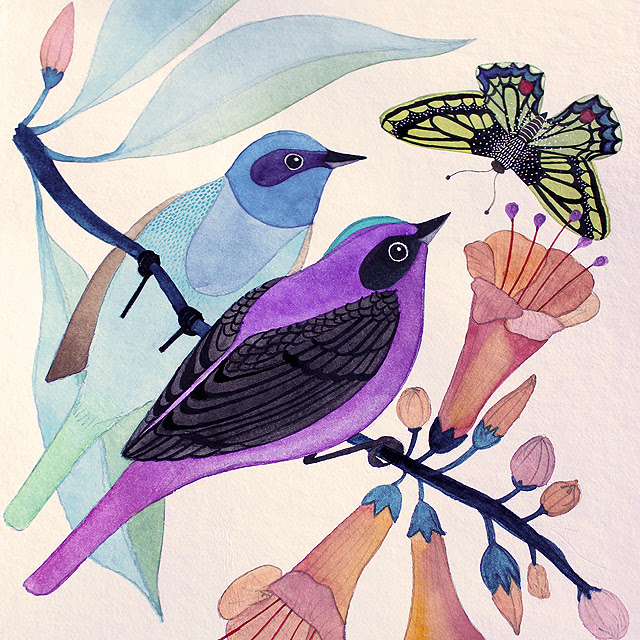 birds and butterfly