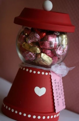 Cute flowerpot candy dispenser idea for Valentine's Day. I just love this!!!