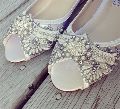Gatsby Peep Toe Wedge Wedding Shoes   All Full And Half
