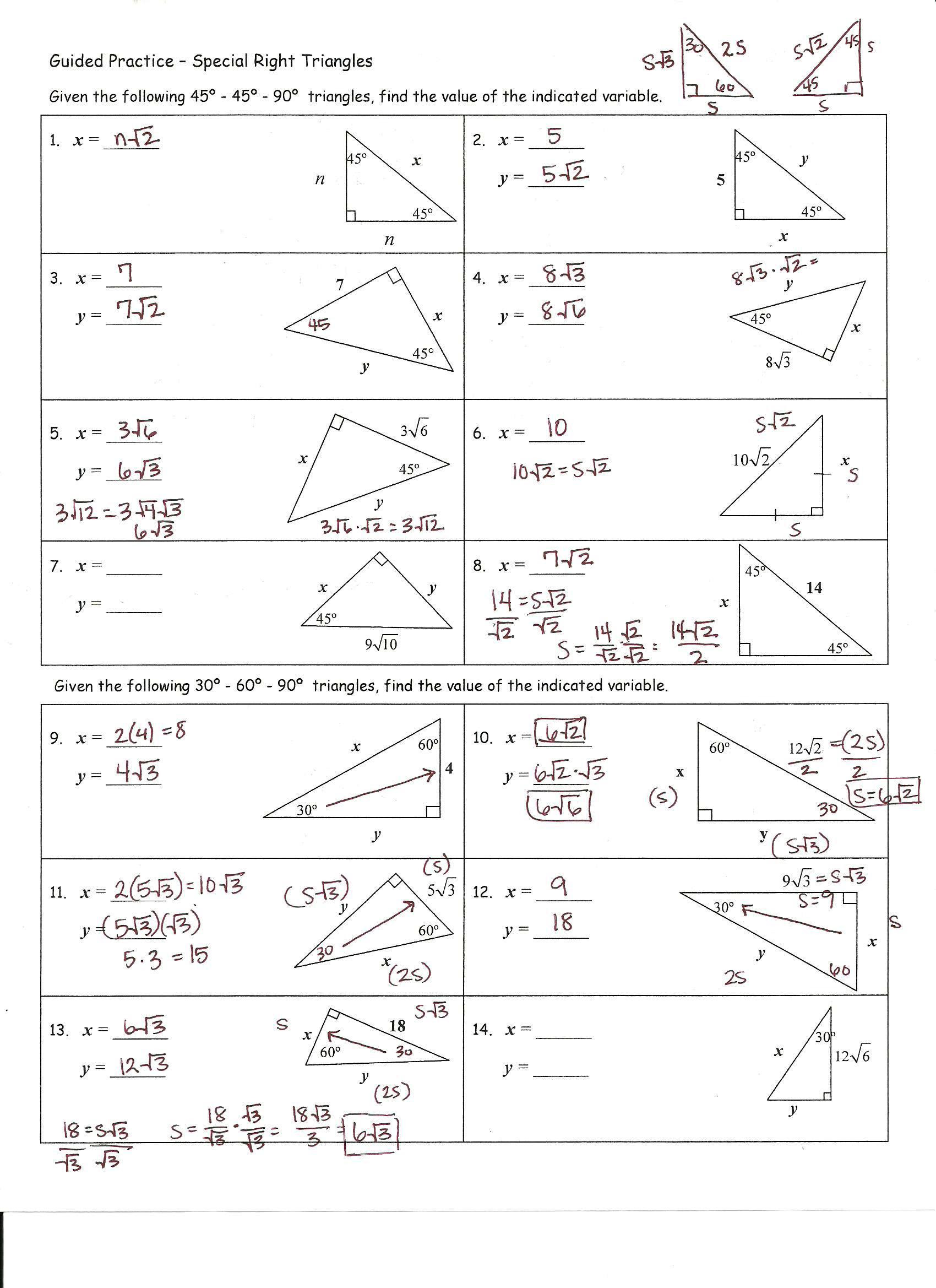 29 Special Right Triangles Worksheet Answer Key Free Worksheet Spreadsheet [ 2338 x 1700 Pixel ]