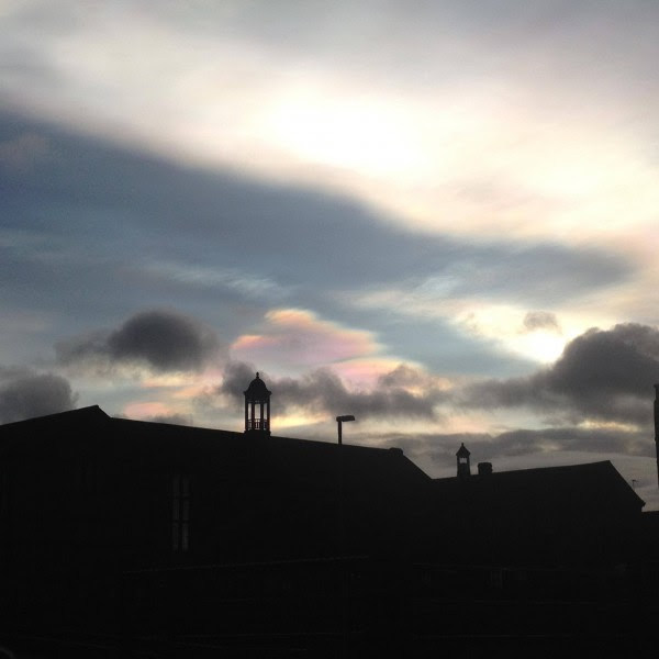 Nacreous clouds over Dublin on the morning of February 2, 2016, caught by Owen Dawson in Bishop-Auckland, UK.