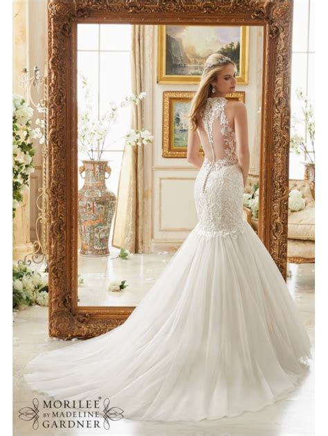 Mori Lee 2885 Mermaid Style Wedding Gown Tulle Skirt Ivory