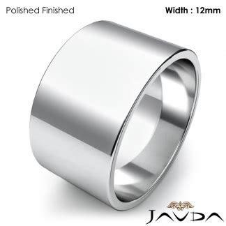 Wedding Band Women Plain Flat Pipe Cut Ring 12mm Platinum