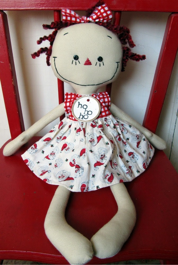 Christmas Raggedy Ann handmade cloth rag doll retro Santa Dress