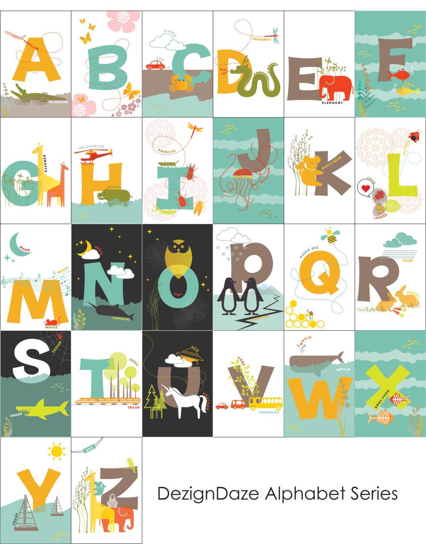 Items similar to Printable ABC Alphabet Flash Cards - all 26 ...
