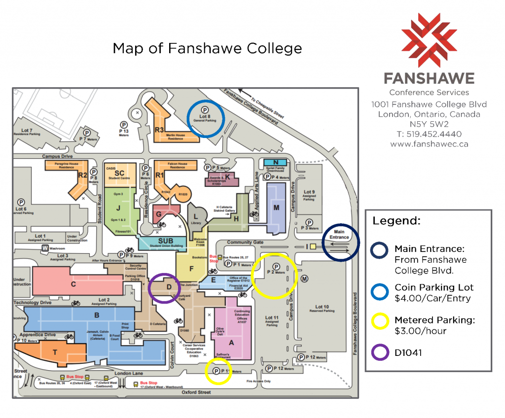 Fanshawe College Campus Map Fanshawe Map | Color 2018