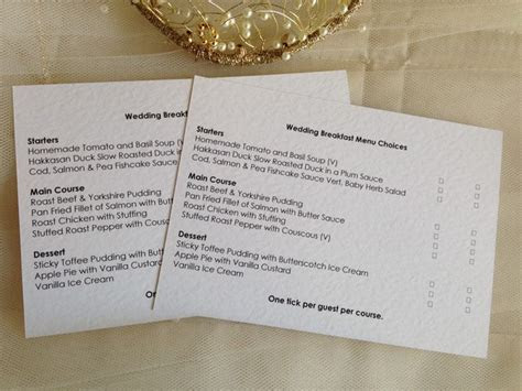 Menu RSVP cards with menu choice, Menu Reply Cards, Menu