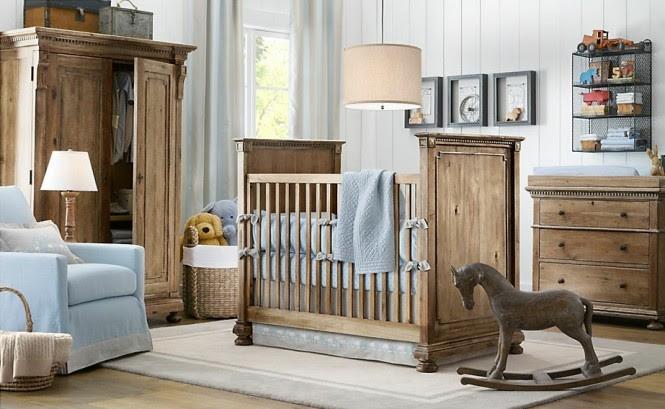 Blue white wood boys nursery design