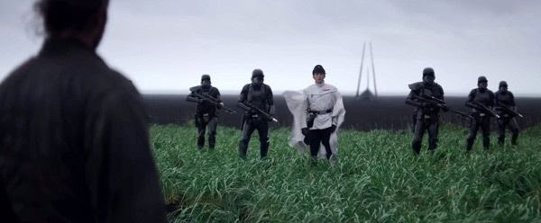 Galen Erso watches as Director Krennic and his Death Troopers walk up to him in ROGUE ONE: A STAR WARS STORY.