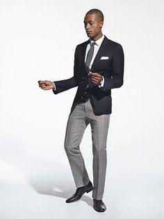 Black Jacket Grey Pants White Shirt