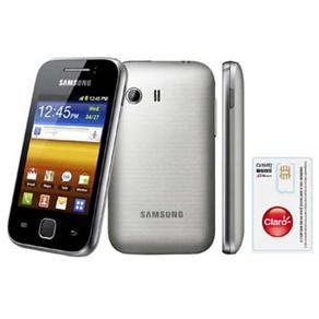 Celular Desbloqueado Claro Samsung Galaxy Y GT-S5360 com Android 2.3, Wi-Fi, 3G, GPS, Câmera 2MP e Cartão 2GB + Chip Único Claro Pré-Pago