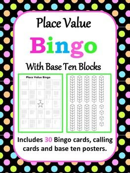 Place Value Bingo with Base Ten Blocks | Bingo, Places and Place ...