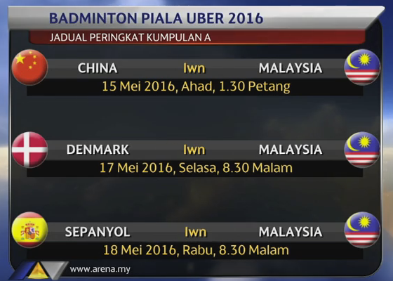 Jadual Piala Uber 2016