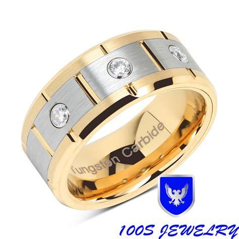 Brushed Center Mens Tungsten Wedding Band 14K Gold