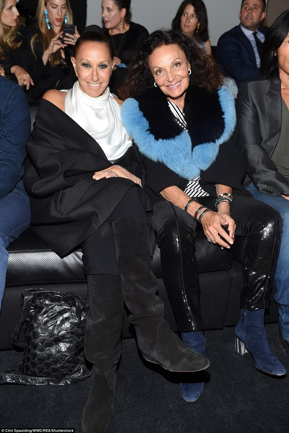 Industry iniders:Fellow fashion designers Donna Karan, 68, and Diane von Furstenberg, 70, also turned out to support their friend, with the pair seen sitting side-by-side in the front row
