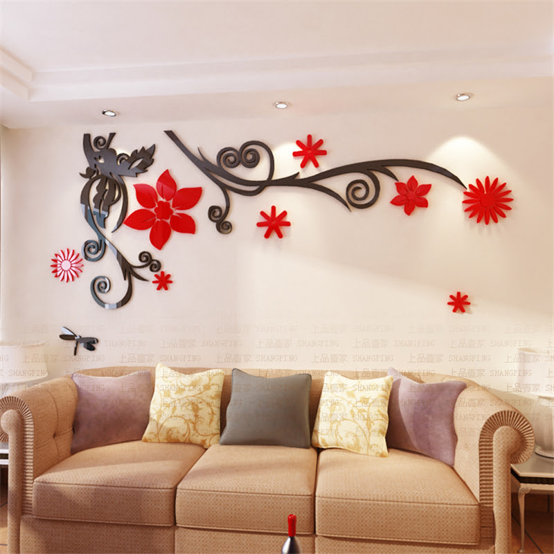3d Stereo Flower Vine Acrylic Crystal Wall Stickers Home Decor Diy Mirror Wall Sticker Tree Living Fantastic Viewpoint