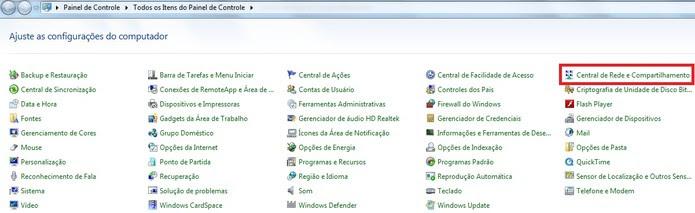 Em destaque, a Central de Rede e Compartilhamento no Painel de Controle do Windows (Foto: Reprodução/Marcela Vaz) (Foto: Em destaque, a Central de Rede e Compartilhamento no Painel de Controle do Windows (Foto: Reprodução/Marcela Vaz))