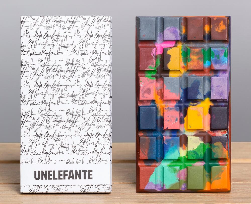 Edible Crayon and Paint Splattered Chocolate Bars by Unelefante paint food chocolate