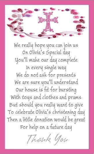 50 x Mini Polite Christening Money for gift poem by