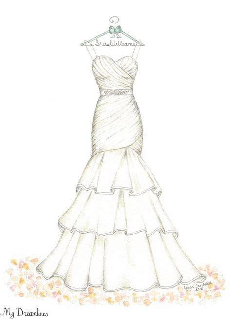 Dreamlines Wedding Dress Sketch #oneyearanniversarygift #