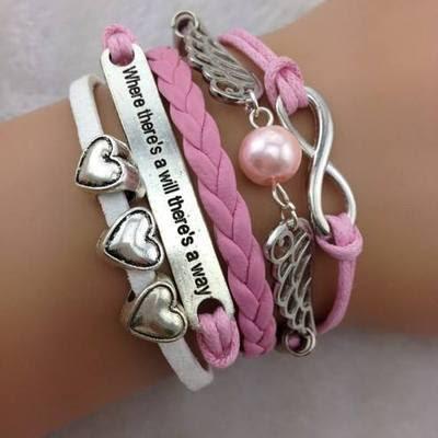 High quality fashion leather bracelet infinity-love