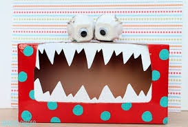 """Monster"" out of old tissue box - could be fun to ""feed"" it?"
