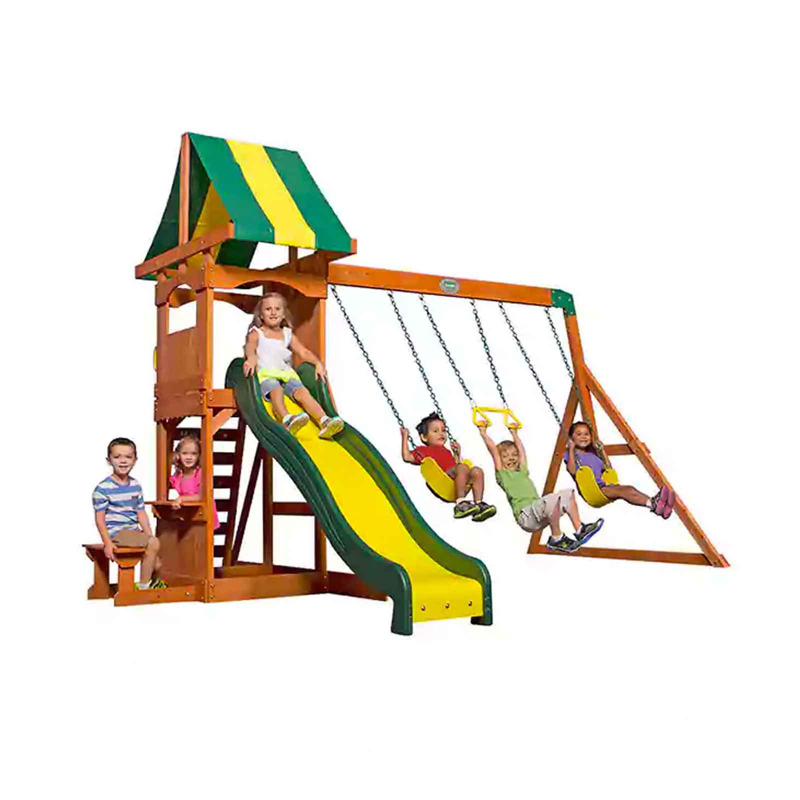 +104 Backyard Discovery Weston Cedar Wooden Swing Set ...