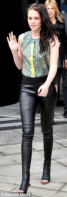 Leather lady: Perhaps Stewart is a fetish fan after she was spotted wearing leather in Paris yesterday