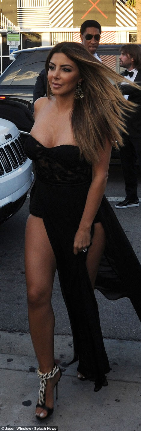 Larsa Pippen flashed her thighs and cleavage in a revealing strapless gown