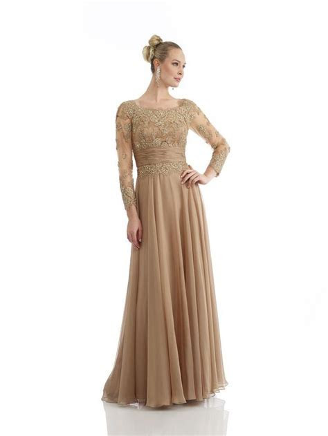 Gold Lace Mother Of The Bride Dress Elegant Party Evening