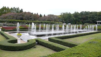 Fountains in front of the greenhouse, Jindai Botanical gardens, Chofu, Tokyo Japan.