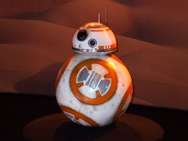 BB-8 on display inside THE FORCE AWAKENS exhibit at the Star Wars Celebration in Anaheim, California...on April 17, 2015.