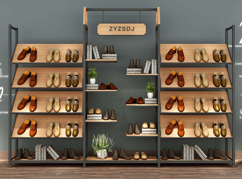 Metal Frame Free Standing Shoe Display Rack Shoe Display Wall