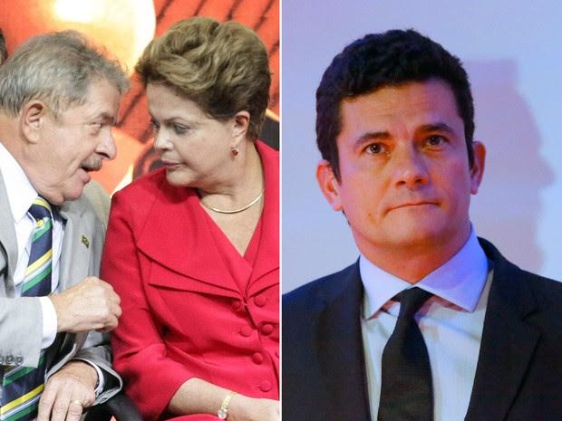 O ex-presidente Luiz Inácio Lula da Silva, a presidente Dilma Rousseff e o juiz federal Sergio Moro (Foto: Daniel Teixeira/Estadão Conteúdo/Arquivo; Gisele Pimenta/Framephoto/Estadão Conteúdo)